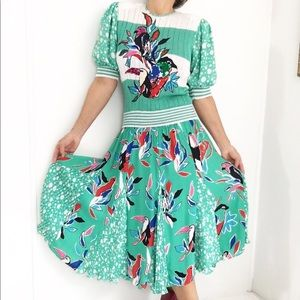 Diane Freis Tucan Print Sequined Skirt Set